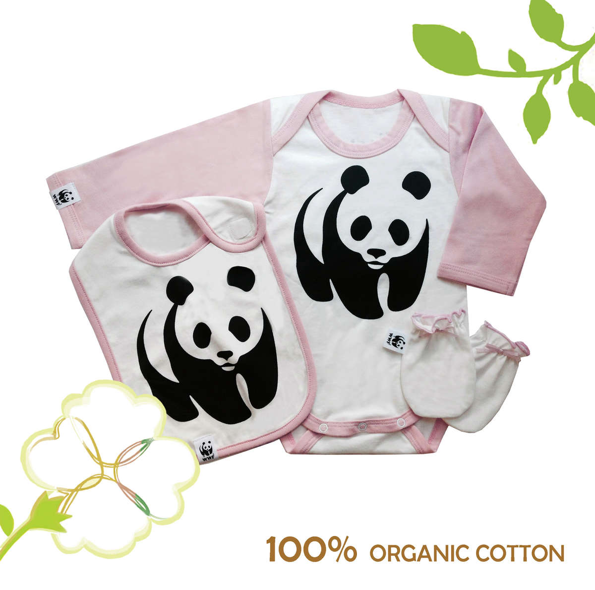 100% Organic Cotton - Panda Baby Cloth Set