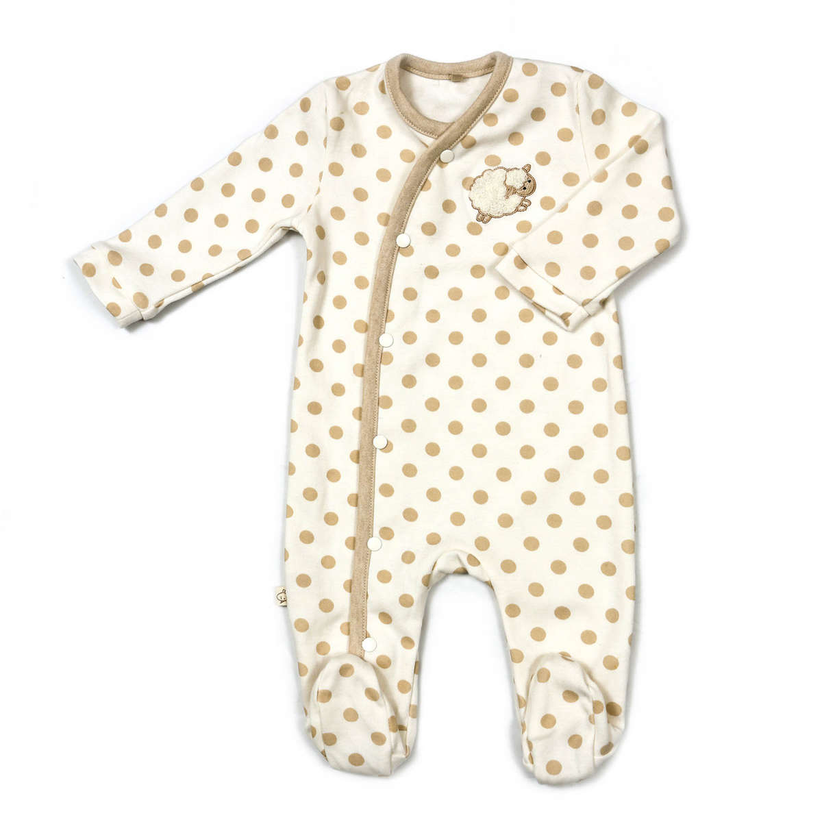 Little Chic Sheep Organic Cotton Long Sleeved Sleepsuit - All Over Beige Polka Dot Print