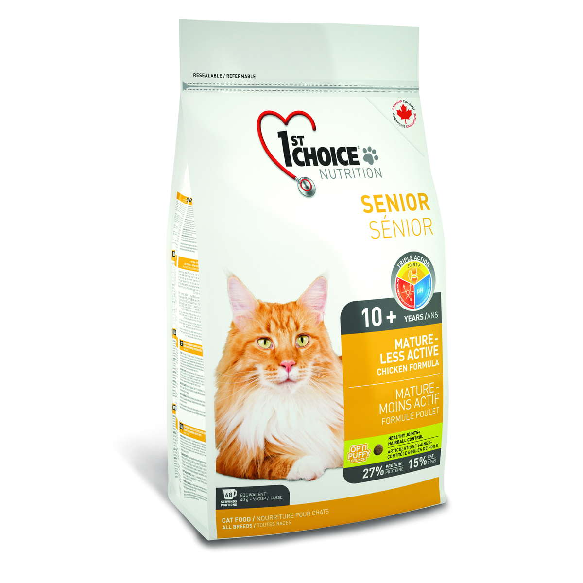 1stChoice Senior Mature Less Active Chicken,3N, hairball control 2.72kg