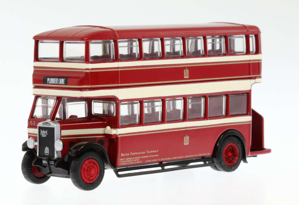 EFE Leyland TD1 type A early 1930's d/deck bus with open staircase 'Bolton Corporation Tramways'