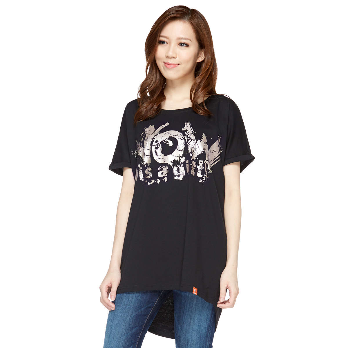 NOW is a gift Lady Loose Roll-sleeve Tee