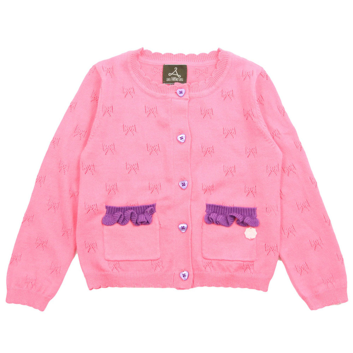 Pink Bow Pattern With Ruffles Pocket Cotton Cardigan