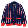 Navy Blue Striped Shawl Collar Cotton Cardigan